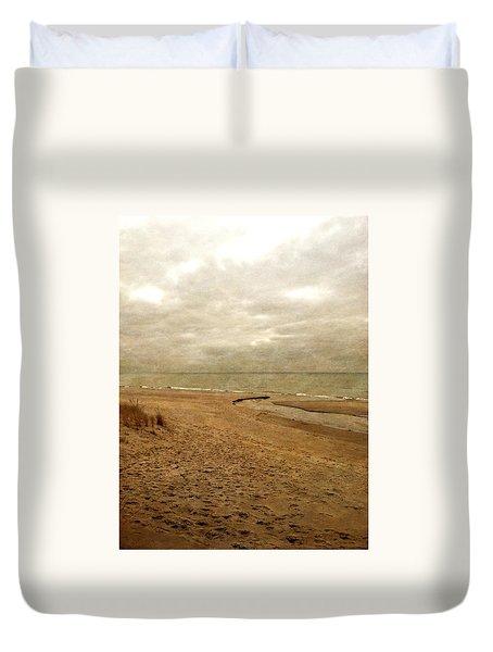 Sandy Beach At Pier Cove Duvet Cover