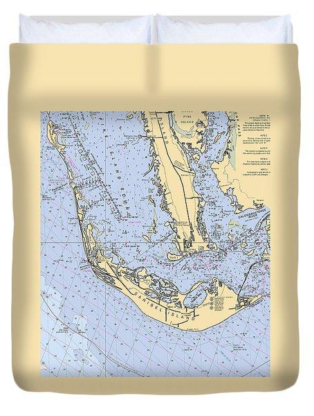 Sanibel And Captiva Islands Nautical Chart Duvet Cover