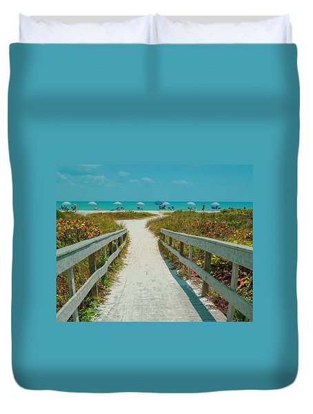 Sanibel Beach Umbrellas Duvet Cover