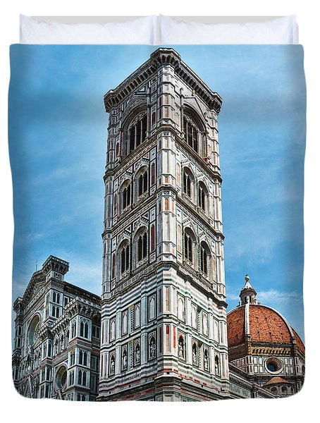 Santa Maria Del Fiore Cathedral Doorway And Bell Tower Duvet Cover