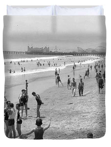 Santa Monica Beach Circa 1920 Duvet Cover