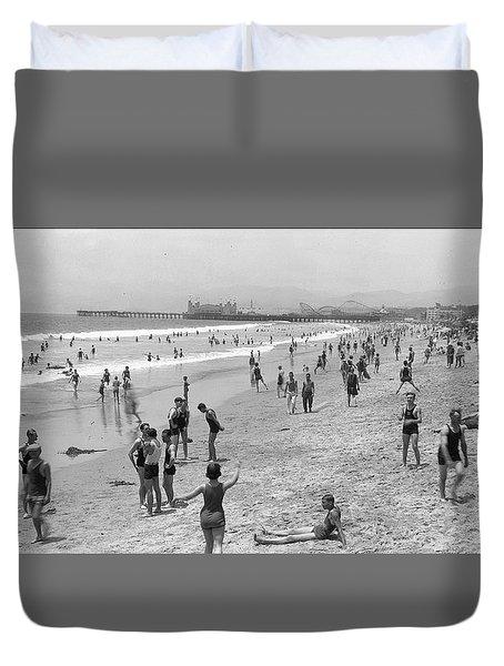 Santa Monica Beach Circa 1920 Duvet Cover