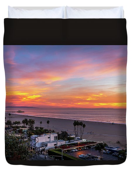Santa Monica Pier Sunset - 11.1.18  Duvet Cover