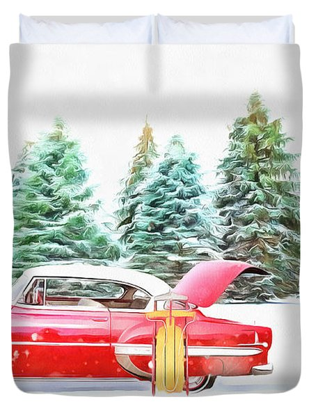 Duvet Cover featuring the painting Santa's Other Sleigh by Harry Warrick