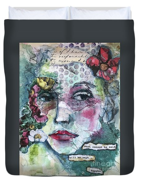 Sappho's Quote Duvet Cover