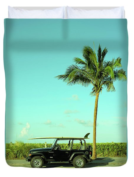 Saturday Surfer Jeep Duvet Cover