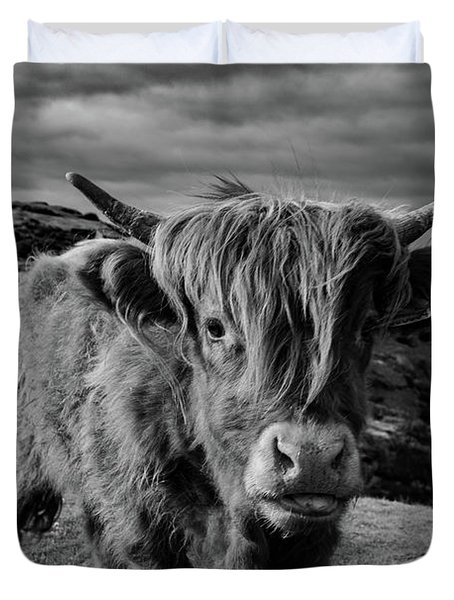 Saying Hello To A Highland Cow At Baslow Edge Black And White Duvet Cover
