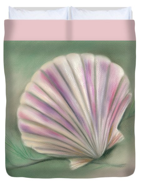 Scallop Shell With Pine Twigs Duvet Cover
