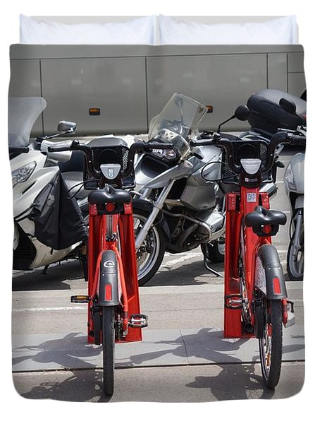 Scooters In Barcelona Duvet Cover
