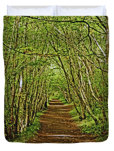 Scotland. Killiecrankie. Path Through The Trees. Duvet Cover