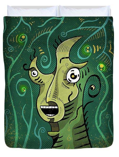 Duvet Cover featuring the digital art Scream by Sotuland Art