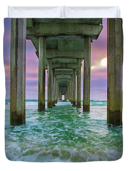 Scripps Pier Wave Duvet Cover