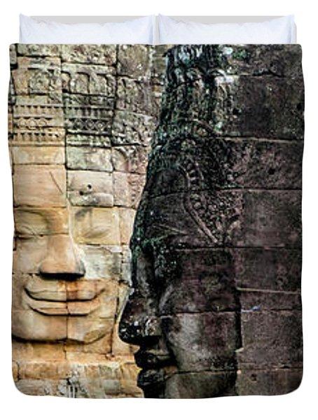 Sculptures At Bayon Temple, Angkor Duvet Cover