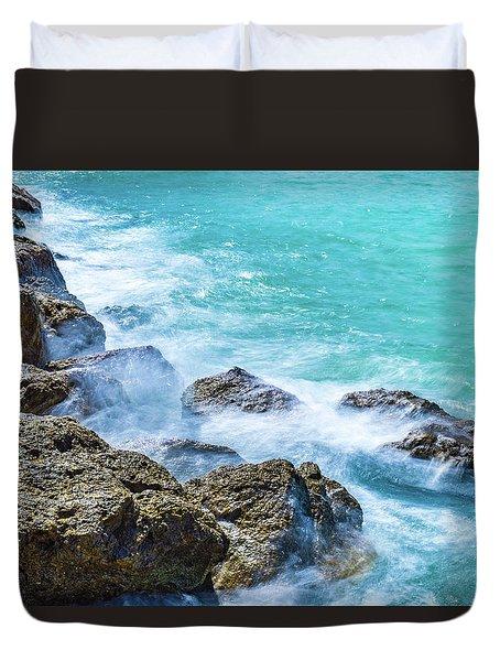 Sea Rocks In Montego Bay Duvet Cover