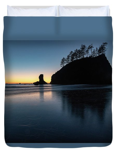 Sea Stack Silhouette Duvet Cover