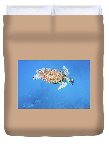 Sea Turtle And Fish Swimming Duvet Cover