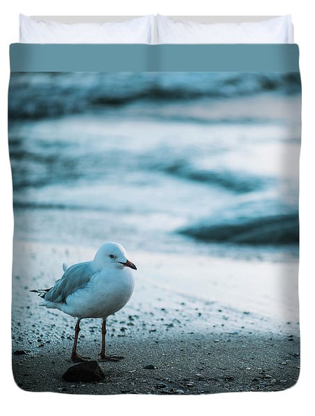 Duvet Cover featuring the photograph Seagull On The Beach. by Rob D