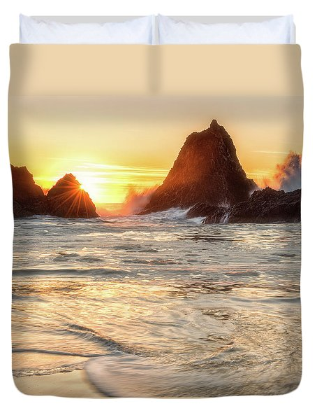 Duvet Cover featuring the photograph Seal Rock  by Russell Pugh