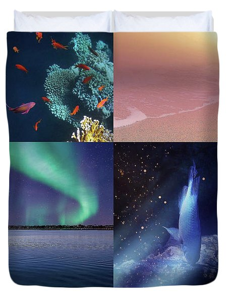 Sealife And Seashore Collage Vertical 2 Duvet Cover