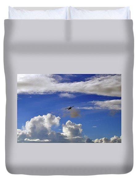 Seaplane Skyline Duvet Cover