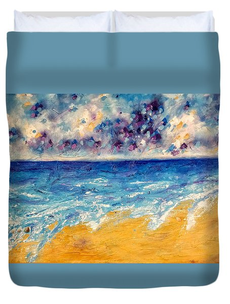 Duvet Cover featuring the painting Searching For Rainbows by Tracy Bonin