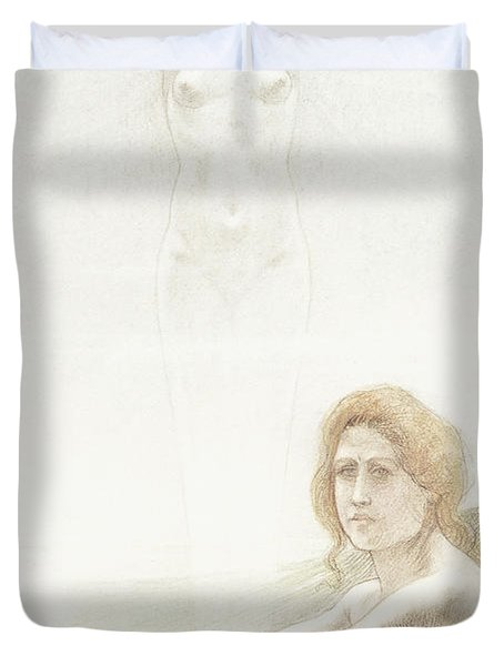 Seated Female Nude With Ghostly Female Figure In The Background, 1897 Duvet Cover