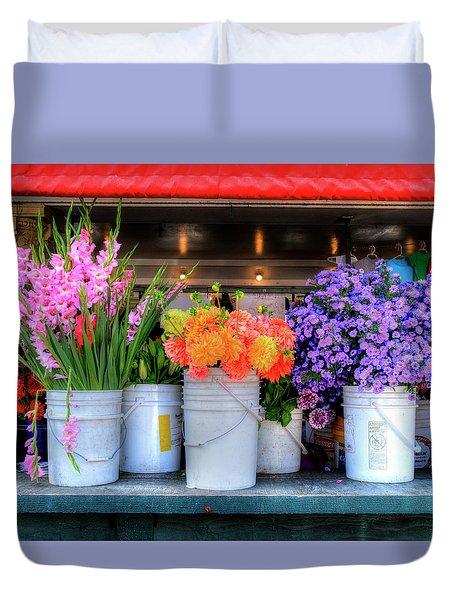 Seattle Flower Market Duvet Cover