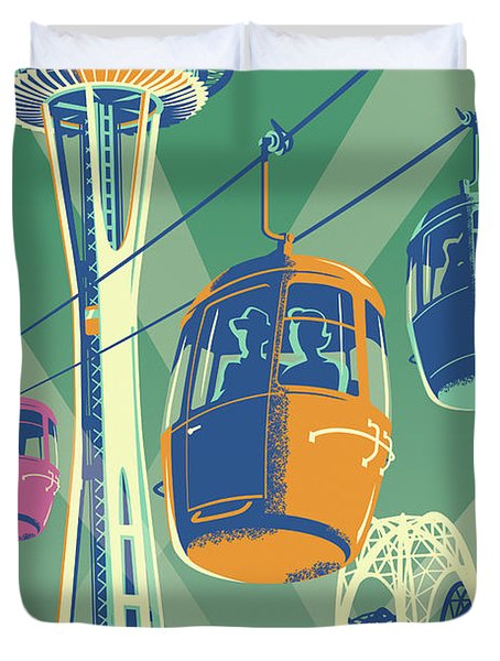 Seattle Poster- Space Needle Vintage Style Duvet Cover