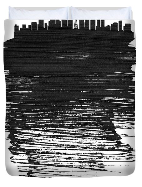 Seattle Skyline Brush Stroke Black Duvet Cover