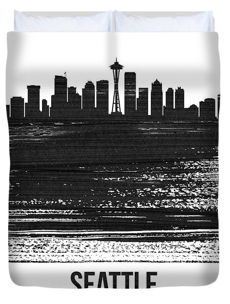 Seattle Skyline Brush Stroke White Duvet Cover