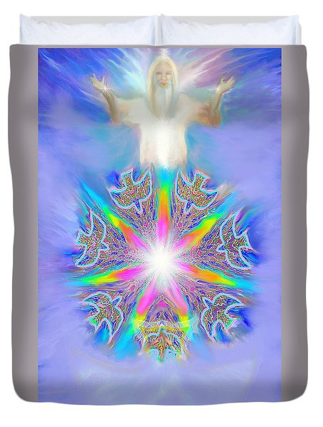 Duvet Cover featuring the painting Second Coming by Hidden Mountain