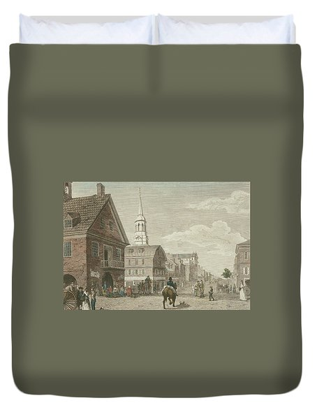 Second Street North From Market St. And Christ Church Duvet Cover