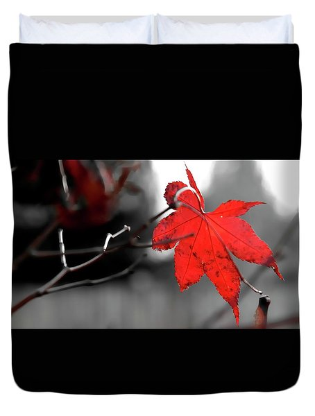 Duvet Cover featuring the photograph Selective Red Maple Leaf by Jerry Sodorff