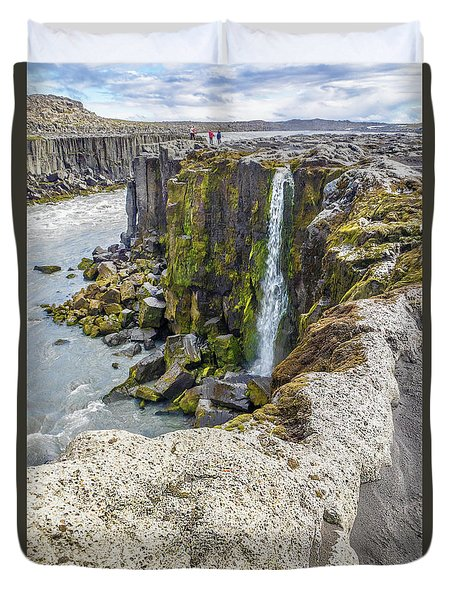 Selfoss Waterfall - Iceland Duvet Cover