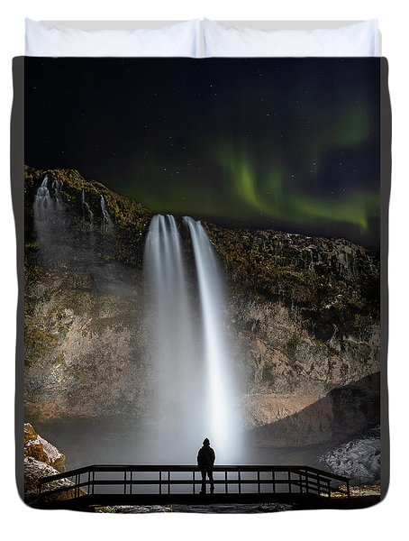 Duvet Cover featuring the photograph Seljalandsfoss Northern Lights Silhouette by Nathan Bush