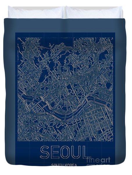 Seoul Blueprint City Map Duvet Cover