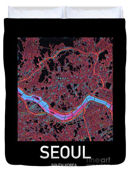 Seoul City Map Duvet Cover