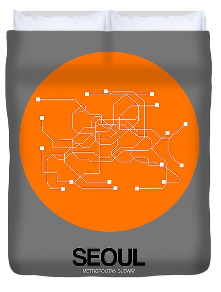 Seoul Orange Subway Map Duvet Cover