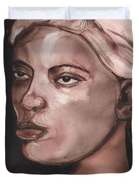 Sepia Woman Duvet Cover
