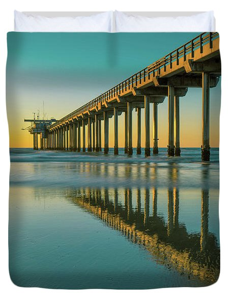 Serenity Scripps Pier La Jolla San Diego Duvet Cover