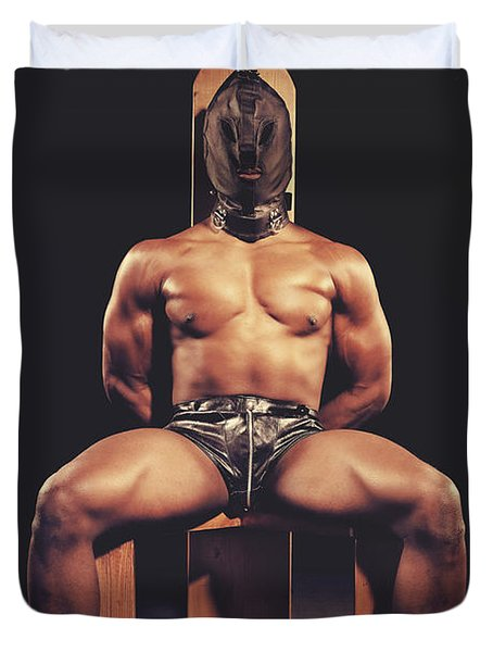 Sexy Man Tiedup On A Bdsm Chair Duvet Cover