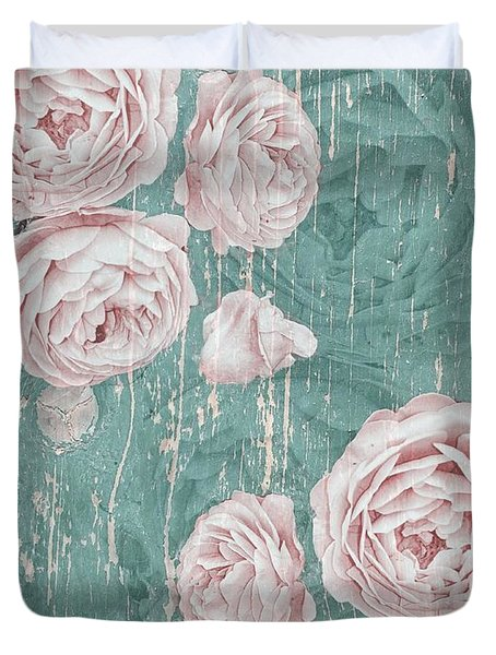 Shabby Chic Roses Distressed Duvet Cover