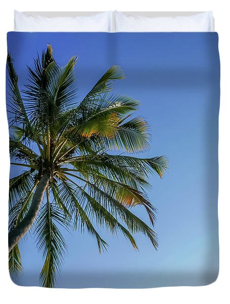 Shades Of Blue And A Palm Tree Duvet Cover