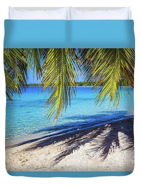 Shadows On The Beach, Takapoto, Tuamotu, French Polynesia Duvet Cover