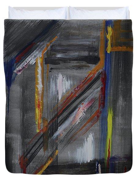 Duvet Cover featuring the painting Shaft by Karen Fleschler