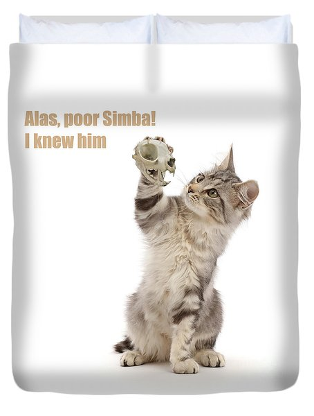 Duvet Cover featuring the photograph Shakespeare Cat - Alas Poor Yorick by Warren Photographic