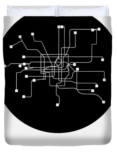 Shanghai Black Subway Map Duvet Cover