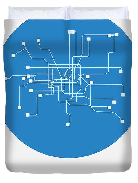 Shanghai Blue Subway Map Duvet Cover