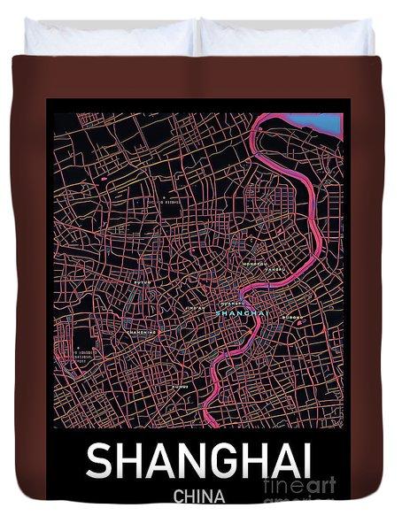 Shanghai City Map Duvet Cover