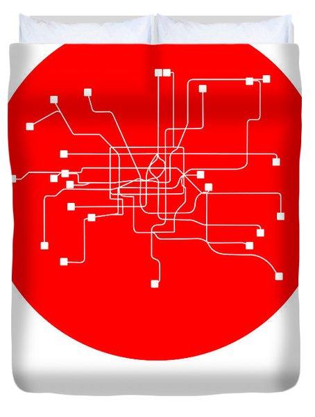 Shanghai Red Subway Map Duvet Cover